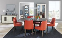 Cookes Collection Urban Weathered Oak Dining Range in Burnt Oak #dining #orange #table #roomscene http://www.cookesfurniture.co.uk/cookes-collection-urban-weathered-oak-6-8-extending-dining-table-6-scoop-chairs-in-burnt-orange/p1855