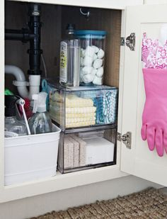 Love the shoe drawers from Container Store for storage under the kitchen sink