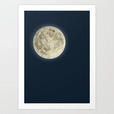 moon bulb Art Print by Adorluna - $20.00