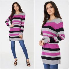 Womens Striped V Neck Longline Slouchy Knitted Jumper Dress Loose Sweater 6 - 14 1920 Flapper Dresses, Loose Sweater, Jumper Dress, Jumpers For Women, Long A Line, Evening Gowns, Winter Fashion, Womens Fashion, Casual