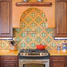 mexicantiles - kitchen backsplash with royal and flor