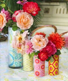 This is one of my very favorite and easiest projects ever! Whether you're having a small celebratory dinner at home or a wedding celebration for 250 guests, this DIY vase is a great solution for any occasion. Each vase design will take you less than five minutes (we love that!) so you can make them in a pinch. Did I mention that there's no mess involved?