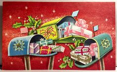 Stunning Mailboxes Pretty Presents Stars 1950's Vintage Christmas Greeting Card