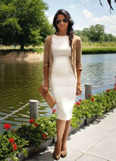white pencil dress + camel cardigan on #camilaalves