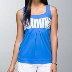 NWOT elevate tank lululemon deauville stripe Print is called deauville stripe blue. Condition is brand new, never worn, tags removed. lululemon athletica Tops Tank Tops