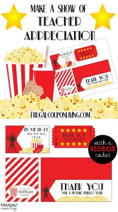 Movie Night Teacher Appreciation Gift with FREE Printables