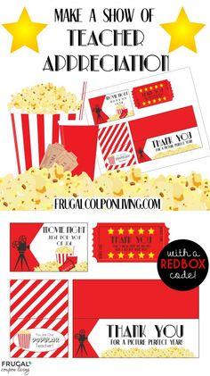 Movie Night Teacher Appreciation Gift with FREE Printables