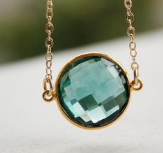 Lovely shade of green - Gold Teal Quartz Necklace - Simple Bezel Necklace - 14KT Gold Fill - Teal Green via Etsy.