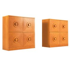 Set of Two Brutalist Chests in Honey Stained Oak   From a unique collection of antique and modern sideboards at https://www.1stdibs.com/furniture/storage-case-pieces/sideboards/