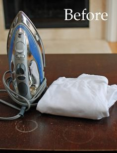 It Works!  Before & After of Using an Iron to Remove Water Rings from Furniture