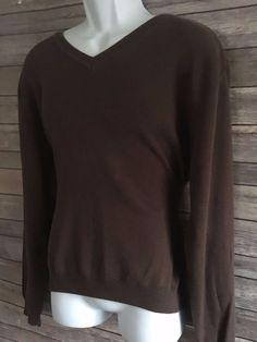 VAN HEUSEN Men's Long Sleeve Sweater Size Medium Brown V Neck Winter EUC #VanHeusen #VNeck #ebay