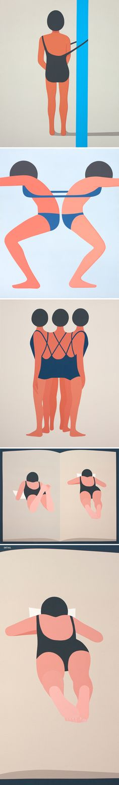 beautiful simple, graphic, smart paintings of LA based artist Geoff Mcfetridge - pieces from his series Meditallucination - the