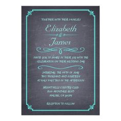 Aqua Vintage Chalkboard Wedding Invitations Announcement