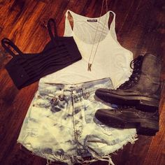 High Waisted Shorts and Combat Boots