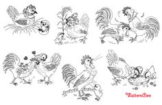 ROOSTERS HENS & CHICKS- embroidery patterns