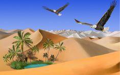 Désert, sable, aigles, oasis Wallpaper