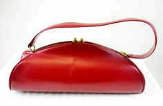 1950s Vintage Handbag Red Leather Long Semi Circle Shape