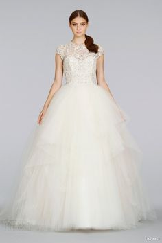 http://weddinginspirasi.com/2014/02/03/lazaro-spring-2014-wedding-dresses/ lazaro #wedding dresses spring 2014 cap sleeve tulle ball gown #ballgown #weddings #weddingdress #bridal