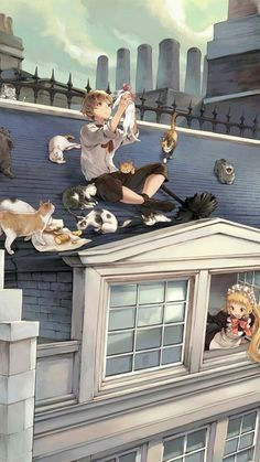Anime couple with cats – Anime pics – Anime Paar mit Katzen – Anime Bilder – Anime Love, M Anime, Cute Anime Boy, Cute Anime Couples, Anime Guys, Anime Cat Boy, Art Anime Fille, Anime Art Girl, Cosplay Anime
