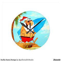 Surfin Santa Design Round Wall Clock