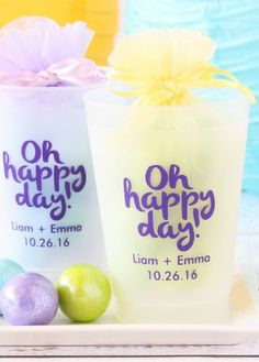 Fill 'em, tip 'em, flip 'em—shatterproof glasses are ideal for any party. Each cup is made of frosted plastic and can be personalized!