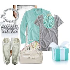 For my new white jeans...teal cardigan, grey tee & teal bib necklace with silver accessories!