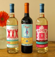 Custom 30th birthday wine labels ( XXX-retro beach babe). $37.00, via Etsy.