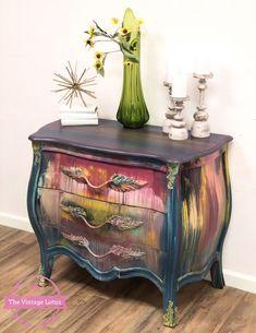 Creative Furniture Artistry, Original Artwork, Home Decor & more. Funky Painted Furniture, Decoupage Furniture, Distressed Furniture, Refurbished Furniture, Paint Furniture, Upcycled Furniture, Rustic Furniture, Furniture Makeover, Furniture Decor