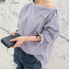 Cheap blusas femininas, Buy Quality tops blusas femininas directly from China loose blouse Suppliers: 2017 Autumn Women Striped Blouse Sexy Skew Collar Batwing Long Sleeve Loose Blouse Women Spring Button Shirt Tops Blusa Feminina Collar Shirts, Shirt Blouses, Collar Blouse, Blouses 2017, Collar Top, Tee Shirt, Chemises Sexy, Mode Kawaii, Look Street Style