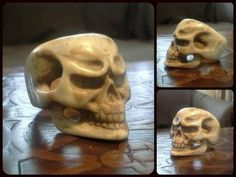 Another hand carved skull ring - bone