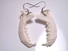 Mink jaw bone dangle earrings.  From Murder Jewelry, by Dominick Triola of New Jersey.    $19.99