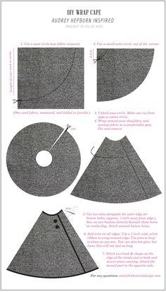 Diy audrey inspired cape in honor of design 1 yard of fabric folded in a couple buttons and some velvet ribbon No Sew Cape, Cape Tutorial, Sewing Crafts, Sewing Projects, Diy Clothes Life Hacks, Revamp Clothes, Clothes Refashion, Cape Pattern, Diy Couture