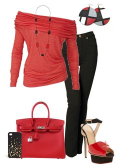 """""""Red and Black"""" by denise-cooper ❤ liked on Polyvore featuring Nobody Denim, Charlotte Olympia, Hermès, Wallis and DKNY"""