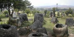The Plain of Jars in Southeast Asia. on the plateau of Xieng Khouang, in the mountains of Indochina, there are about 90 different jars sites. Each site contains from 1 to 400 jars. It has been estimated that they were created 3,000 years ago, with the majority being made of sandstone. the jars are placed in positions that form the constellation patterns of the stars. Most of the jars are empty, but a few have been found with bodies or tools inside, or filled with miniature Buddha statues.
