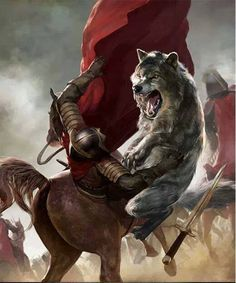 Grey Wind attacking a Lannister knight