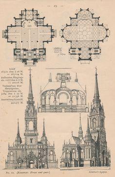 Oder hier der Entwurf eines Kirchenbaus, mit Grundrissen von Erdgeschoss und Empore, Querschnitt, Portalansicht und Isometrie