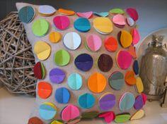 As SEEN in DIY Magazine- Rainbow Disc Pillow on Oatmeal Linen