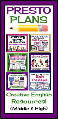 Presto Plans - Creative & Engaging Resources To Teach Middle & High English Language Arts!