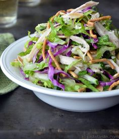Chinese Chicken Salad with Sesame Dressing, gonna try this with left over turkey from thanksgiving :-)