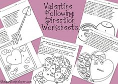 Valentine Following Direction Worksheets Freebie :) - Pinned by @PediaStaff – Please Visit  ht.ly/63sNt for all our pediatric therapy pins