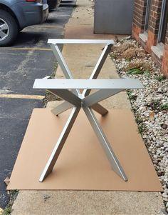 Modern Table X Base Prefabricated Model 003A Satin by DVAMetal