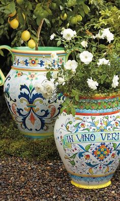 Like the classic planters found throughout Italy, our hand-painted urn is actually lighter, stronger, and easier to move than the ceramic original. Painted Flower Pots, Painted Pots, Hand Painted, Lawn And Garden, Garden Pots, Italian Pottery, Italian Garden, Mediterranean Home Decor, Tuscan Decorating
