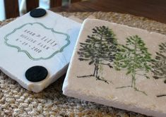 handmade coasters with your names & wedding date.
