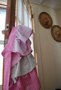 This half apron is made from the backs of four different men's dress shirts, and it is now a fun, functional kitchen accessory. Description from etsy.com. I searched for this on bing.com/images