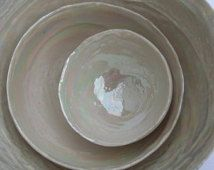 Ceramic Nesting Bowls, 30th Wedding Anniversary Gift, Mother of Pearl Bowl, Home Decor