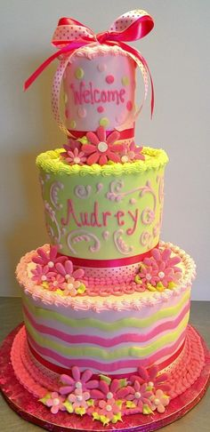 Pretty cake- I like the bottom frosting bands!