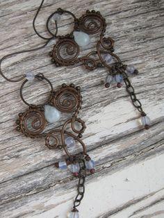 Wire Wrapped Chandelier Earrings  Long Dangle Copper by Lirimaer, $49.00