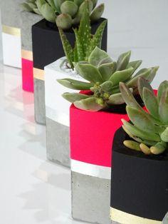 Concrete planters by Metal Dust Studio.  Www.metalduststudio.com.au Concrete Planters, Planter Pots, Gift Wrapping, Studio, Metal, Gifts, Gift Wrapping Paper, Favors, Studios