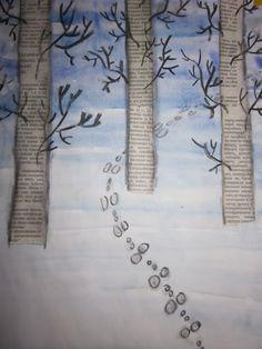 Arctic Art: The rabbit leaps across the field Preschool Art Projects, High School Art Projects, Winter Art Projects, Snow Theme, Winter Activities For Kids, Ice Art, Newspaper Crafts, Kindergarten Art, Snowman Crafts