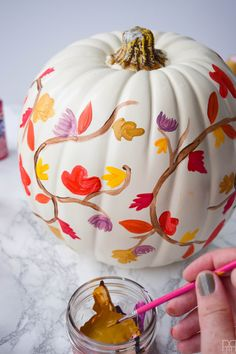DIY Painted Fall Pumpkin - PMQ For Two Painting your own Rifle Paper Co. inspired fall pumpkin is super easy with these step-by-step painting instructions and videos. Come see how I made THE pumpkin of the season. Pumpkin Art, Pumpkin Crafts, Cute Pumpkin, Pumpkin Carving, Pumpkin Ideas, Pumpkin Faces, Painted Pumpkins, White Pumpkins, Fall Pumpkins
